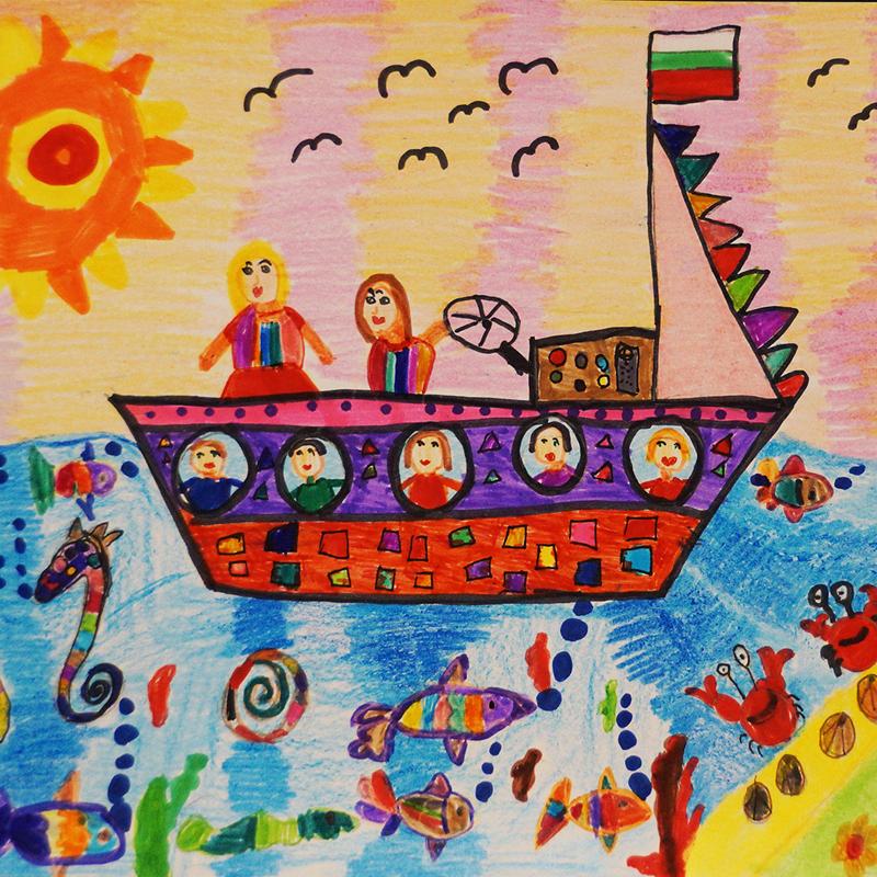 """""""Пътуване с кораб"""", Яна Крумова, 6 г., Плевен"""