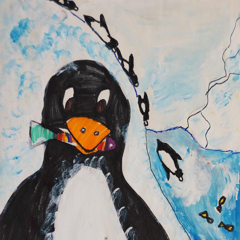 """Пингвин, Антарктида"", Александра Моргунова, 6 г., София"