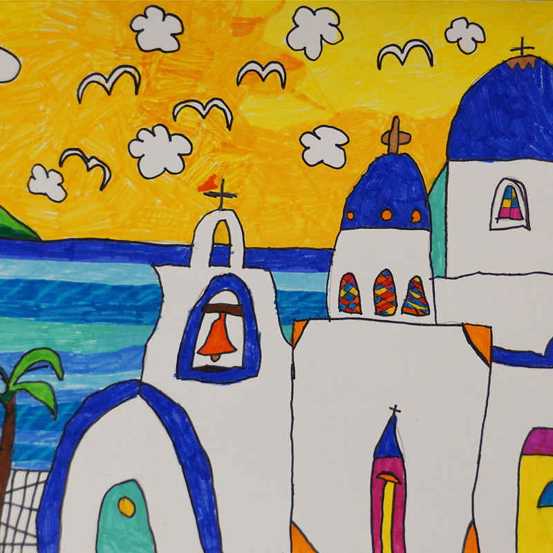 """1-во място ДГ: """"Остров Санторини в Гърция"""", Теодора Диамандиева, 6 г., Варна"""